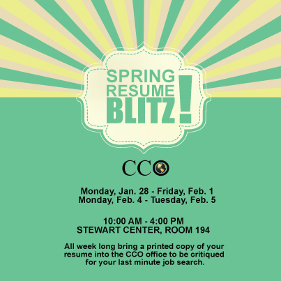 CCO Spring Resume Blitz  Purdue Cco Resume
