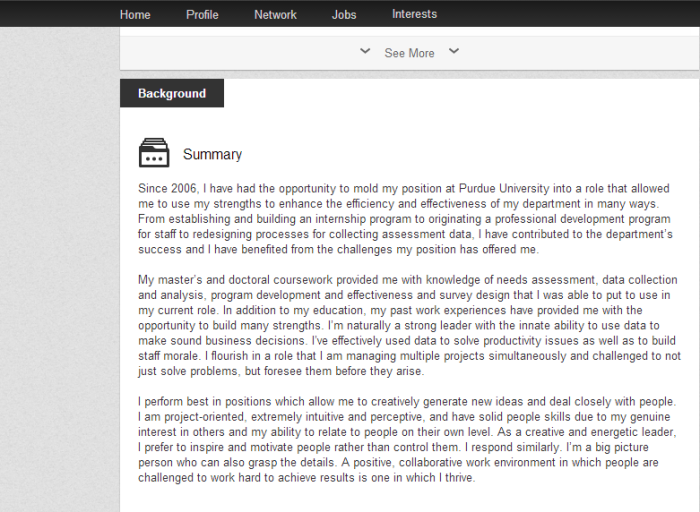 Claudine's LinkedIn Summary Screenshot