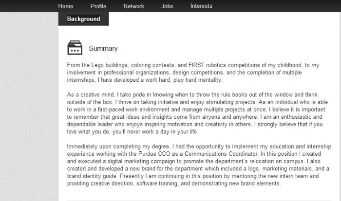Kristina LinkedIn Summary Screenshot