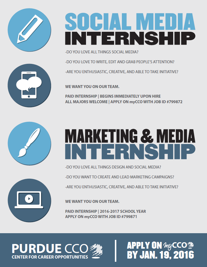 the center for career opportunities is looking to hire two marketing media interns as well as a social media intern ranked as the 3rd best university